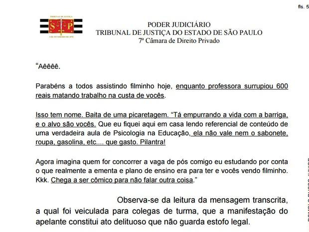 Trecho do processo que reproduz e-mail enviado por aluno para colegas de classe na Unimep, em Piracicaba (Foto: Reprodução/TJ)