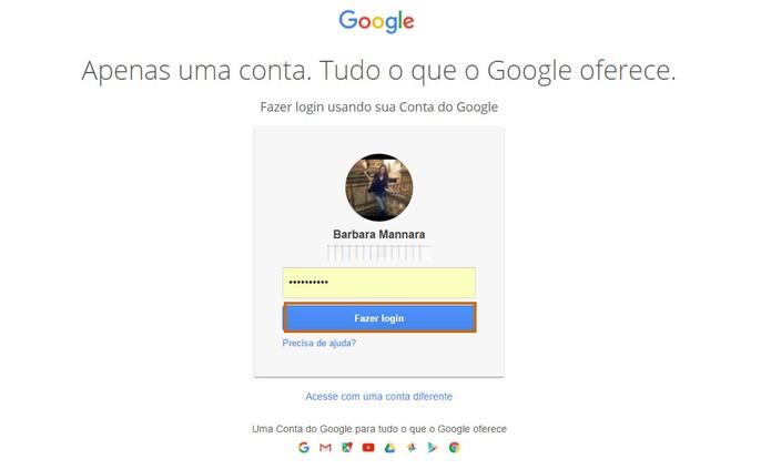 Faça o login no Google Fotos usando o mesmo login do Picasa (Foto: Reprodução/Barbara Mannara)
