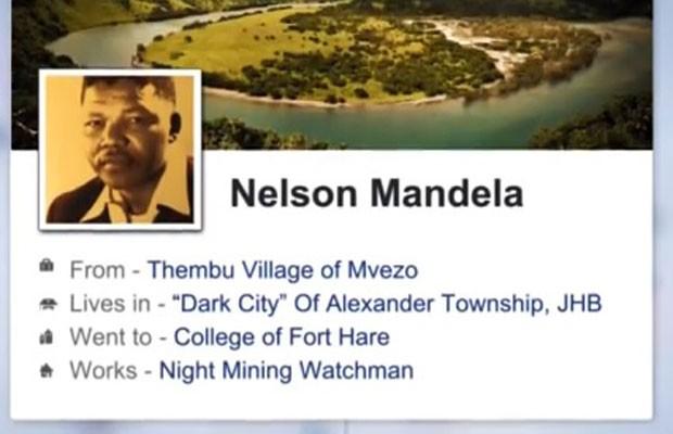 Vídeo cria perfil no Facebook de Nelson Mandela, morto em dezembro de 2013, caso o líder sul-africano tivesse tido acesso à tecnologia de hoje. (Foto: Reprodução/YouTube)