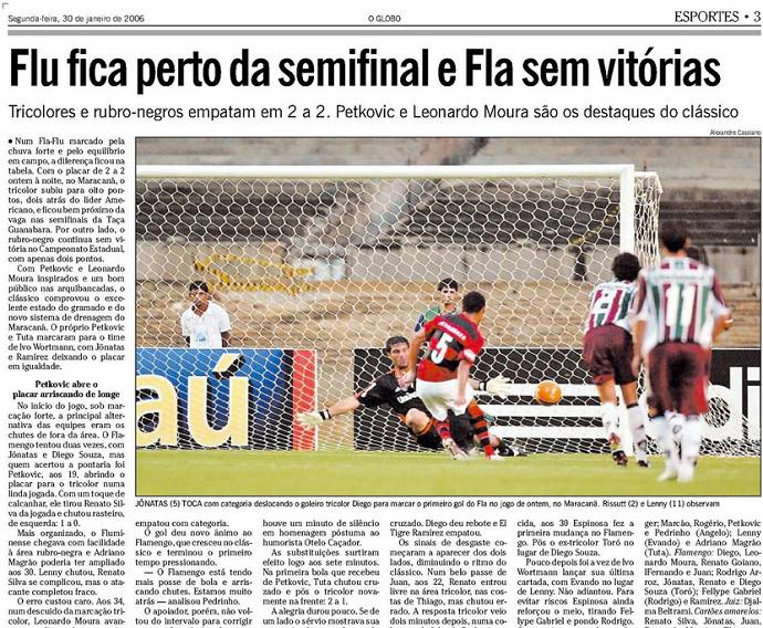 Arquivo O Globo Fluminense x Flamengo 2006 (Foto: Reprodução)