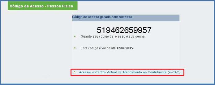 Código gerado pelo serviço (Foto: Divulgação/Receita Federal)
