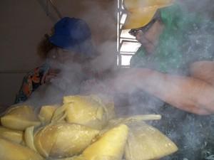Família prepara pamonha que será consumida na véspera de São João na Paraíba (Foto: Rafael Melo/G1)