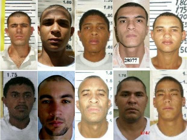 Fotos divulgadas pela Secretaria de Segurança Pública do DF mostram os 10 fugitivos da Papuda neste domingo (21) (Foto: GDF/Reprodução)