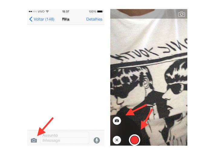 Enviando uma selfie ou vídeo no iMessage do iOS 8 (Foto: Reprodução/Marvin Costa)