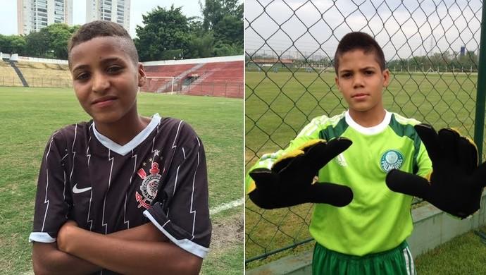 Rodrigo, atacante do Corinthians, e Matheus, goleiro do Palmeiras, decidem sub-11 (Foto: Rodrigo Faber/Divulgação)