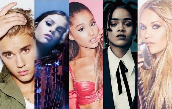 Justin Bieber, Selena Gomez, Ariana Grande, Rihanna e Carrie Underwood (Foto: Reprodução/Instagram)