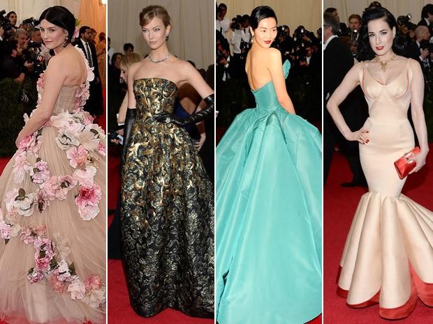Tabitha Simmons, Karlie Kloss, Liu Wen e Dita Von Teese no baile do MET 2014.  (Foto: Reproduo Instagram e AP Images)