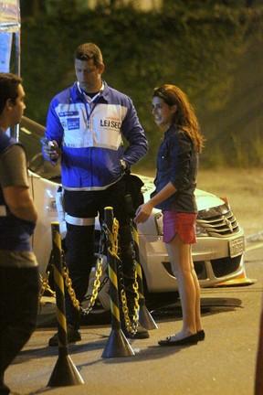 Fernanda Paes Leme é parada em blitz da Lei Seca no Rio (Foto: Delson Silva/ Ag. News)