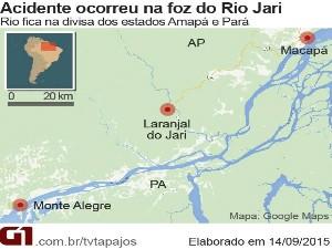 Mapa da região onde ocorreu o naufrágio da balsa em Laranjal do Jari (Foto: Andressa Azevedo/G1)