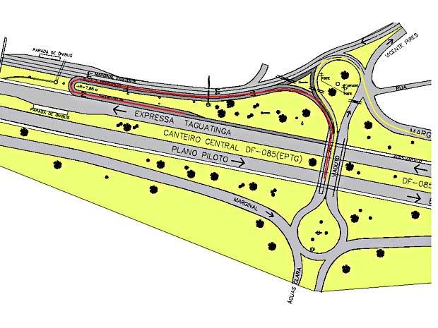 Reprodução de mapa com alteração no trânsito na EPTG, na saída de Águas Claras (Foto: DER/Divulgação)