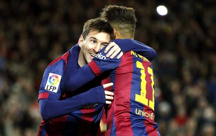 Messi e Neymar, comemoração gol do Barcelona contra o Espanyol (Foto: Agência EFE)