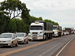 Trânsito ficou lento na BR-163, em Campo Grande (Foto: Fabiano Arruda/ G1 MS)