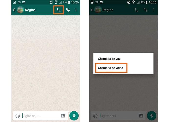 Inicie a chamada de vídeo no WhatsApp (Foto: Reprodução/Barbara Mannara)