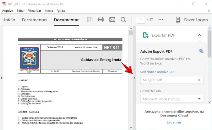 Ocultando barra lateral do Adobe Reader (Foto: Reprodução/Helito Bijora)