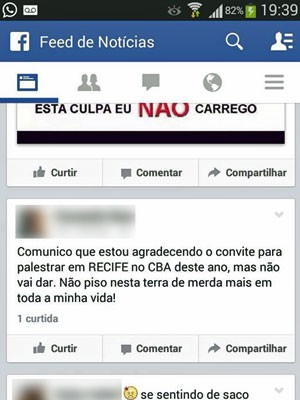 Anestesista postou mensagem na página do Congresso Brasileiro de Anestesiologia (CBA) e gerou revolta dos colegas de profissão (Foto: Reprodução / Facebook)