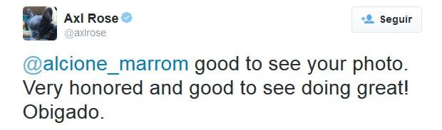 Axl Rose escreveu tuíte agradecendo homenagem feita por Alcione com estampa de blusa (Foto: Reprodução/Twitter/AxlRose)