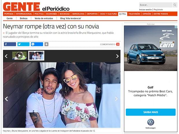 Separação de Neymar e Bruna Marquezine é destaque na mídia internacional (Foto: Reprodução)