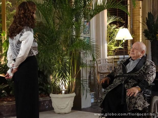 Dionisio tenta se impor, mas acaba cedendo  (Foto: Flor do Caribe/ TV Globo)