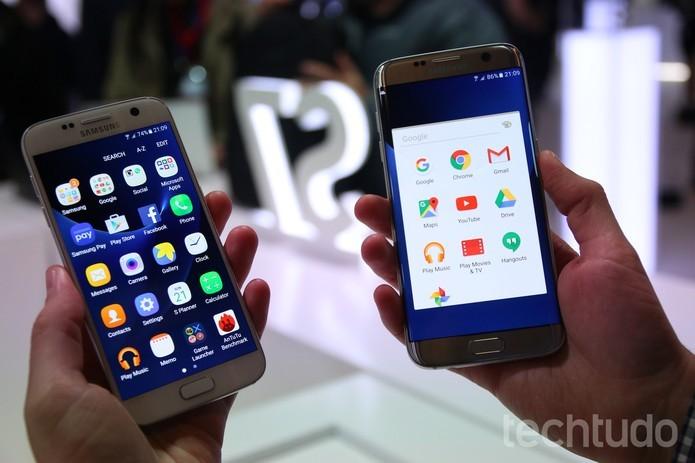 Galaxy S7 tem tela de 5,1 polegadas com resolução QHD (Foto: Fabrício Vitorino/TechTudo)
