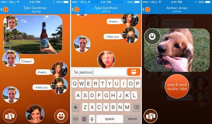 React Messenger é um app de mensagens para iOS que substitui emoticons por selfies de usuários (Foto: Divulgação/App Store)