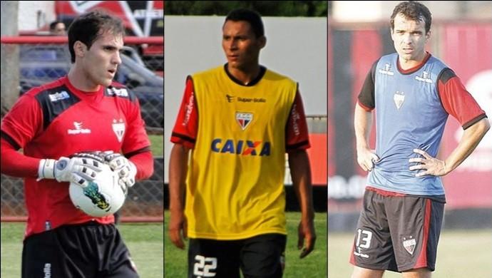 Roberto, Pedro Bambu e Paulo Henrique, jogadores do Atlético-GO (Foto: Montagem/Globoesporte.com)