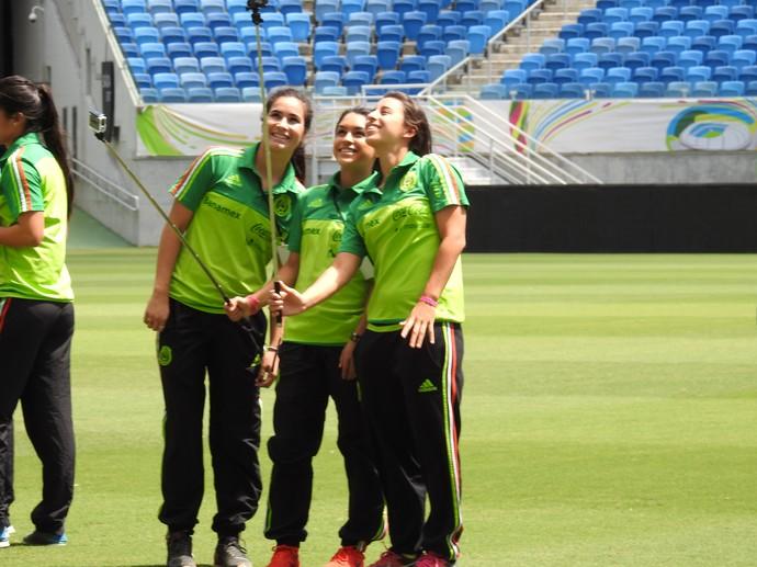 Jogadoras do México na Arena Dunas (Foto: Cíntia Barlem)