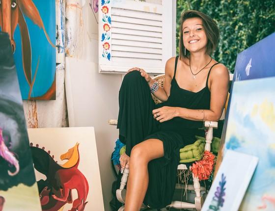 Amanda Saladini inaugura exposição na Sociedade hípica brasileira durante a primeira etapa seletiva Sul-americano de hipismo (Foto: Divulgação)