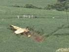 Avião cai sobre cabos de alta tensão ao pulverizar lavoura no RS