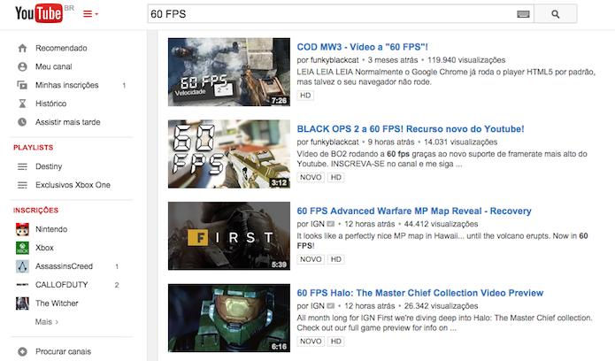 Busca do YouTube já apresenta milhares de vídeos com 60 FPS (Reprodução)