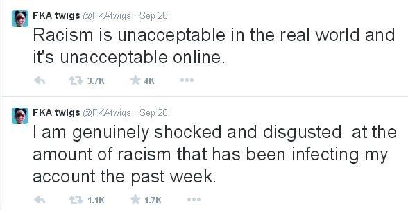 A cantora FKA twigs. Ela foi alvo de racismo pelas redes sociais (Foto: Reprodução/ Twitter)