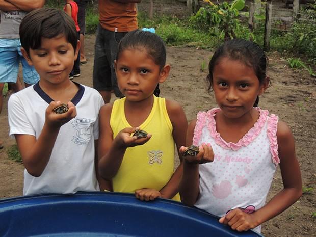 Crianças ajudaram a soltar os quelônios. (Fot Udirley Andrade/Ascom  Prefeitura de Juruti)