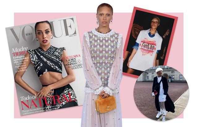 À esquerda, Adwoa na capa da Vogue México de abril e, ao lado, vestindo Chanel. À direita, em foto no Palácio de Buckingham, onde esteve a convite da instituição Heads Together (Foto: Divulgação)