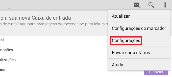 Acessando as configurações do aplicativo Gmail (Foto: Reprodução/Edivaldo Brito)
