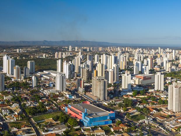 A paisagem mudou com a construção de vários prédios (Foto: Drone Cuiabá)