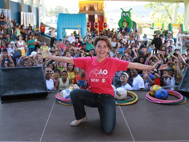 A atriz Fabiula Nascimento participou da Ação Global em Tanguá (Foto: Globo/Eduardo Tchello)