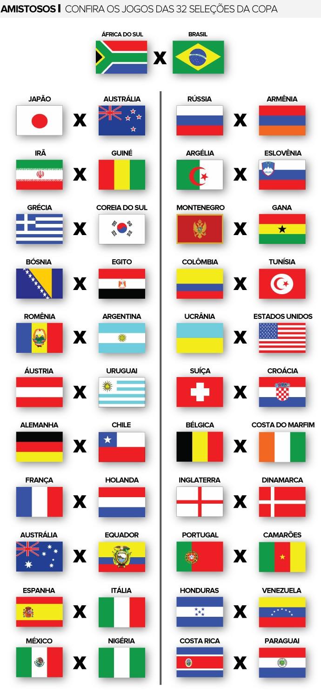 Amistosos seleções copa do mundo (Foto: Editoria de Arte)
