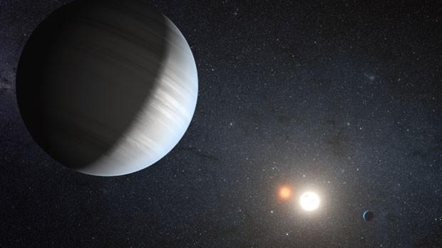 Ilustração do sistema visto das proximidades de um dos planetas (Foto: NASA/JPL-Caltech/T. Pyle)