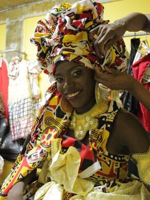 Deusa do Ébano de 2013, a dançarina Daiana Ribeiro, na gravação do DVD em Salvador (Foto: Ida Sandes/G1 Bahia)