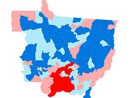 Veja os votos para presidente por município em MT (Arte/G1)