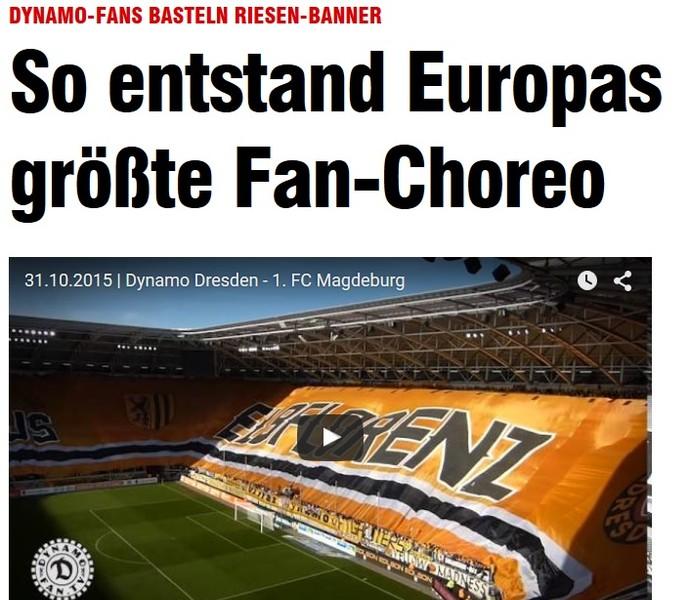 Jornal alemão Bild diz que bandeirão é o maior já visto na Europa (Foto: Reprodução SporTV)