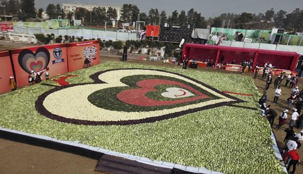 Associação quebrou recorde mundial ao montar mosaico de 479 metros quadrados feito apenas com legumes (Foto: Prabhjot Gill/AP)