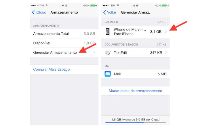 Acessando as configurações de backup do iPhone no iCloud (Foto: Reprodução/Marvin Costa)