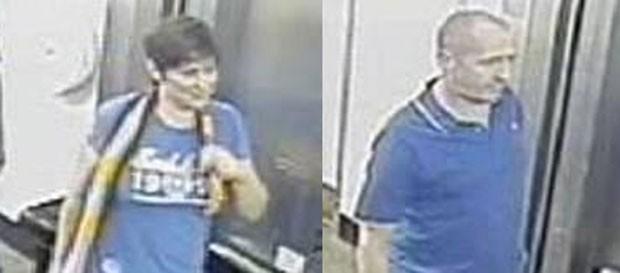 Polícia britânica divulgou imagens de um casal que foi flagrado mantendo relações sexuais dentro de um elevador em uma movimentada estação de trem (Foto: British Transport Police/Divulgação)