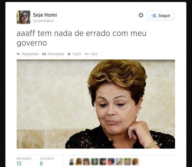 Internauta faz piada sobre resposta de Dilma Rousseff a pergunta de Marina Silva (Foto: Reprodução/Twitter/camilatxc)