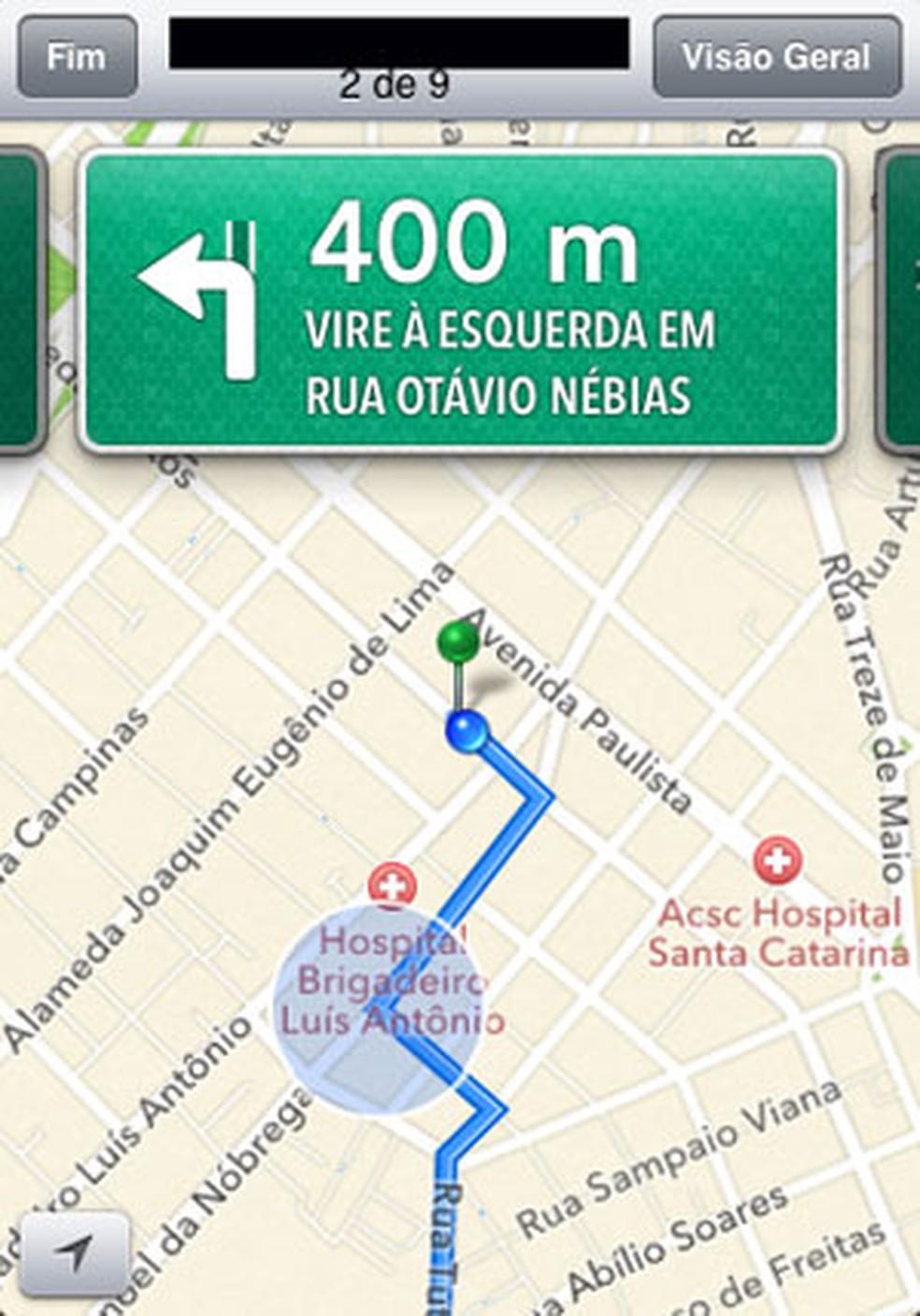 Tela de navegação do Apple Maps (Foto: Reprodução)