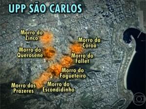 UPP do São Carlos foi instalada há mais de dois anos (Foto: Reprodução/TV Globo)