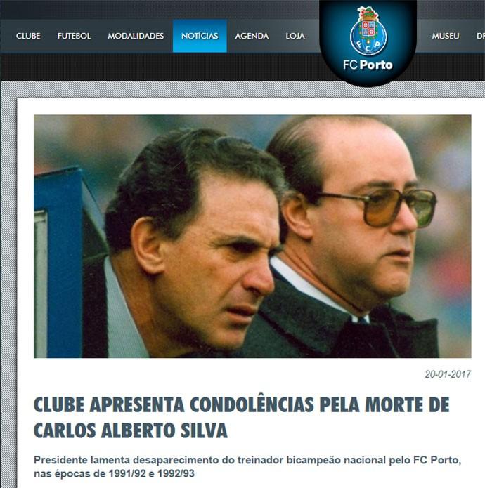 Homenagem do FC Porto para Carlos Alberto Silva (Foto: Site do FC Porto)