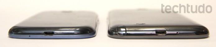 Galaxy Note 2 vs Galaxy S3: comparação de espessura (Foto: Allan Melo/TechTudo)