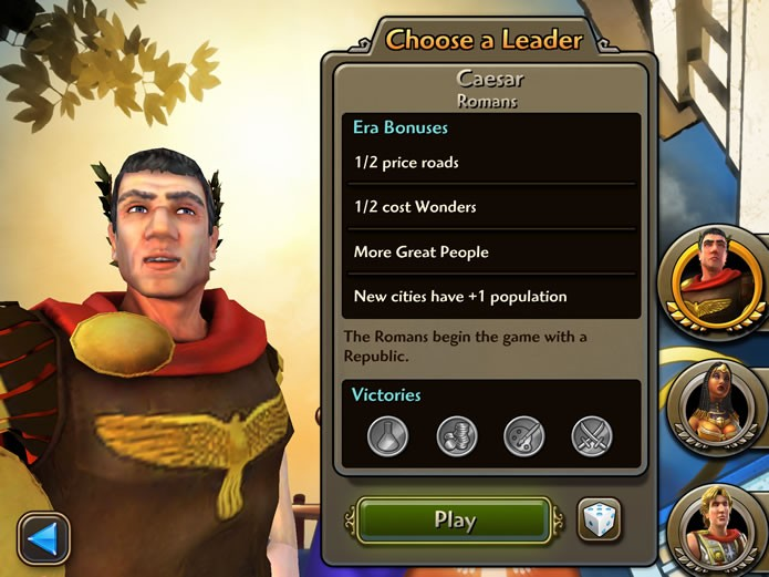Cada líder histórico de Civilization Revolution 2 possui habilidades de gerenciamento únicas (Foto: Reprodução/Daniel Ribeiro)