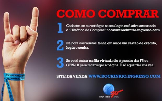 Tuíte do Rock in Rio mostra passo a passo para compra de ingressos (Foto: Reprodução/Twitter/Rock in Rio)